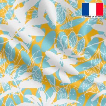 Satin jaune motif ovale bleu glacier et flore écrue