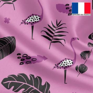 Satin mauve motif flamant rose et feuille noire