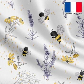 Satin écru motif bouton d'or lavande et abeille