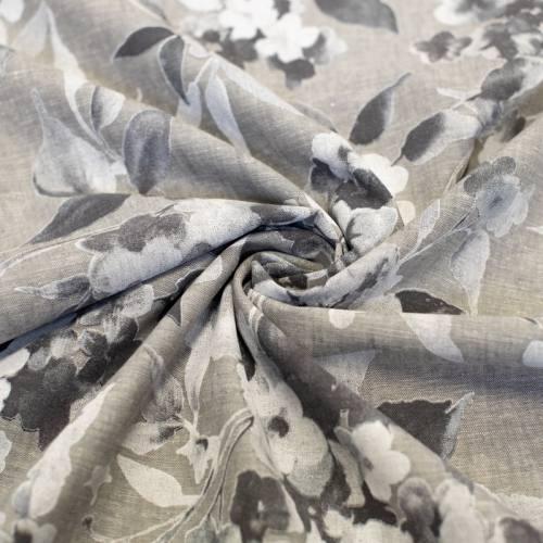 Tissu coton lin gris motif grosses fleurs blanches
