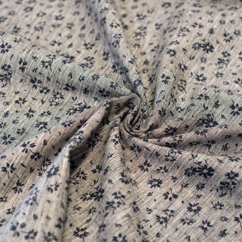 Tissu coton lin écru motif petites fleurs bleues