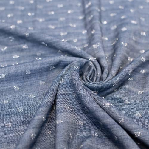 Tissu viscose bleu jean à pois argentés brillants