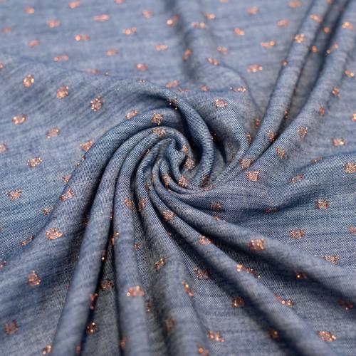 Tissu viscose bleu jean à pois cuivrés brillants