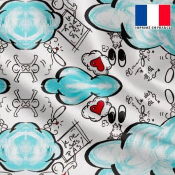 Satin écru motif nuage bleu et écritures - Anne-Sophie Dozoul