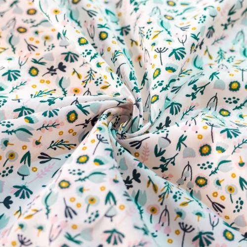 Coton blanc imprimé fleurs sauvages vert rose et ocre viky