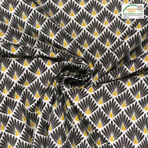 coupon - Coupon 52cm - Coton imprimé écailles noires et ocre