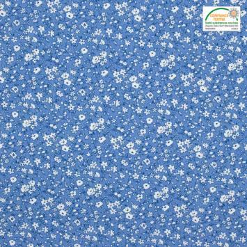 coupon - Coupon 40cm - Coton petite fleur bleu clair et blanc