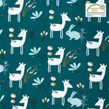 coupon - Coupon 94cm - Jersey bleu canard motif lapin et biche faola