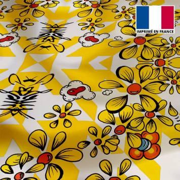 Satin écru motif pied de poule et fleur jaune - Anne-Sophie Dozoul