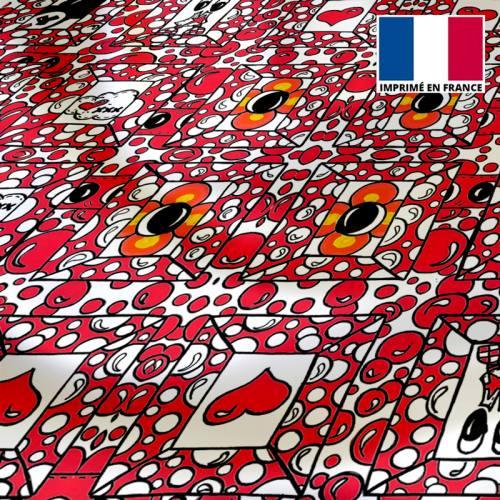Satin écru motif cadre et bulle rouge framboise - Anne-Sophie Dozoul