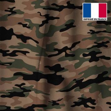 Velours ras marron imprimé camouflage vert et noir