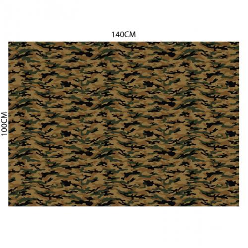 Velours ras mordoré imprimé camouflage vert et noir