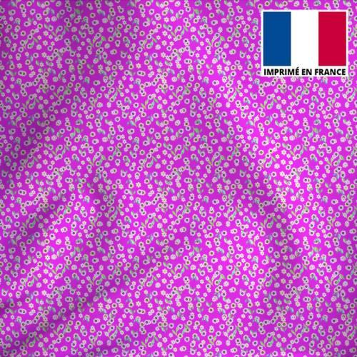 Tissu microfibre violet imprimé petites fleurs roses