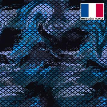 Lycra imprimé petit triangle camouflage noir et bleu