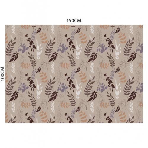 Tissu occultant taupe motif branches et feuilles marron