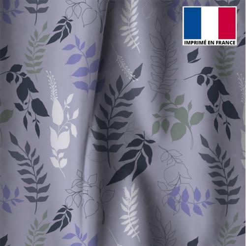Tissu occultant parme motif branches et feuilles violettes