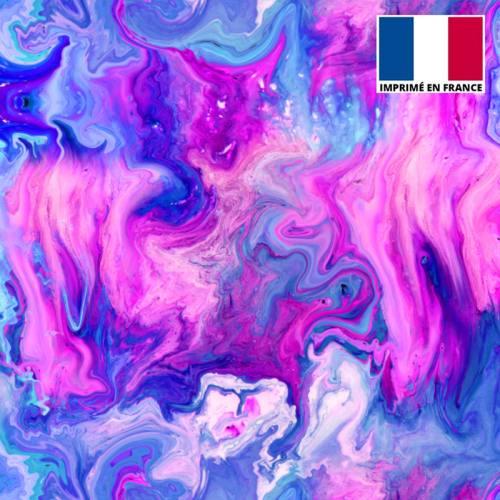 Lycra motif flux coloré bleu et violet
