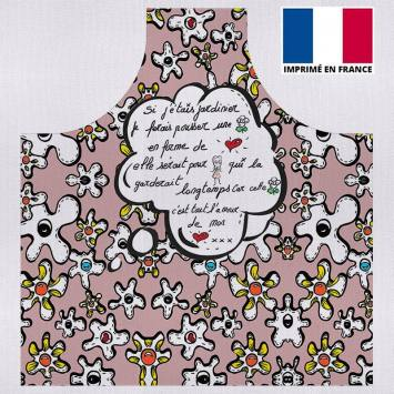 Kit canvas pour tablier motif fleur poème vieux rose - Création Anne-Sophie Dozoul