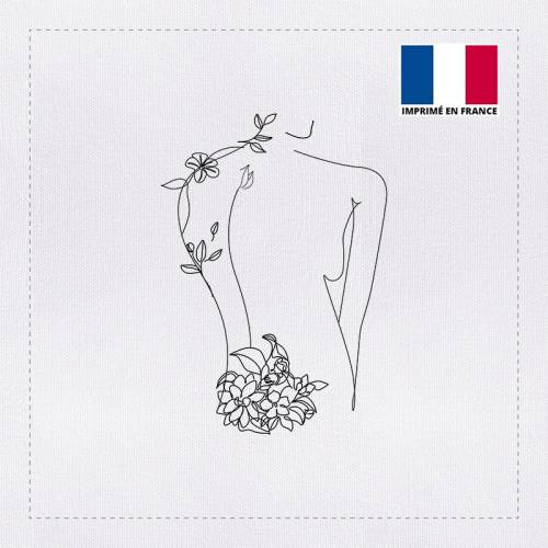 Coupon 45x45 cm toile canvas silhouette dessin trait continu