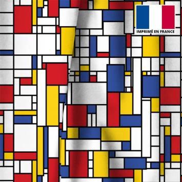 Velours ras écru motif rectangles jaunes rouges et bleus