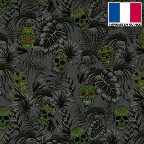Tissu burlington gris imprimé jungle tête de mort verte