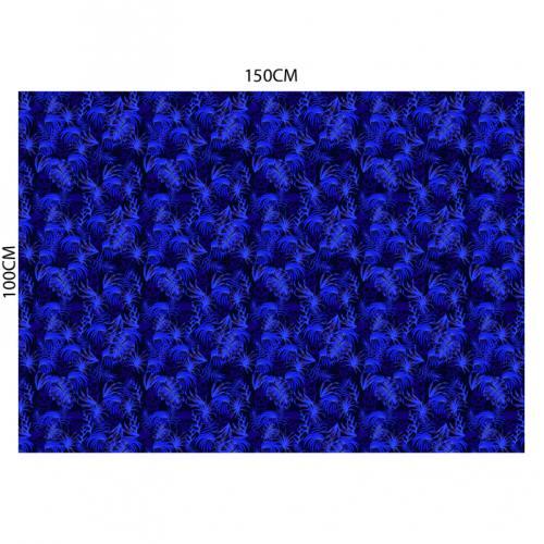 Tissu burlington noir imprimé jungle tête de mort bleue