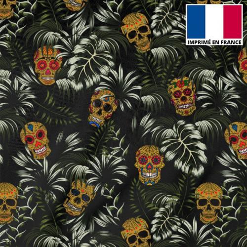 Tissu burlington noir imprimé jungle tête de mort ocre