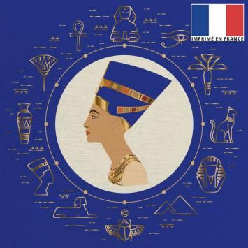 Coupon 45x45 cm toile canvas reine d'Egypte bleu et or