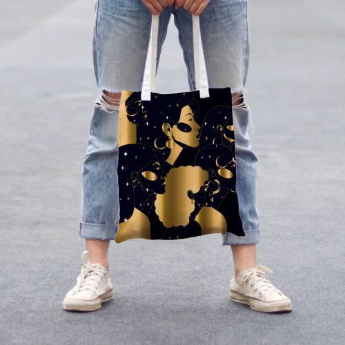 Coupon 45x45 cm toile canvas noir motif gold women