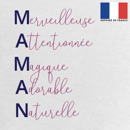 Coupon 45x45 cm toile canvas écrue motif maman adjectifs