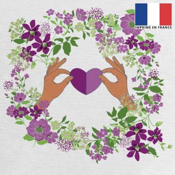 Coupon 45x45 cm toile canvas écrue motif fleur et coeur violet et vert