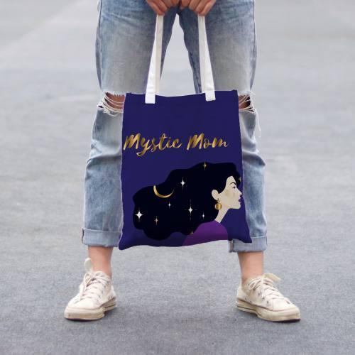 Coupon 45x45 cm toile canvas bleu foncé motif mystic mom