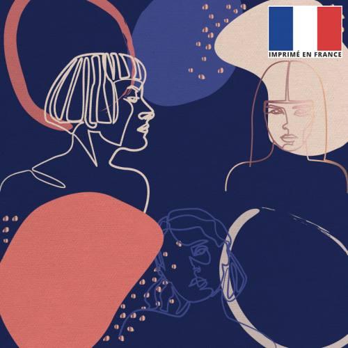 Coupon 45x45 cm toile canvas bleu foncé motif esquisse corail et écrue