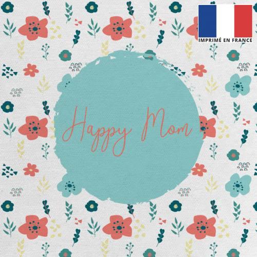 Coupon 45x45 cm toile canvas écrue motif happy mom
