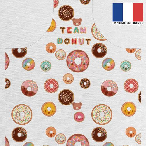 Kit canvas pour tablier motif donuts colorés