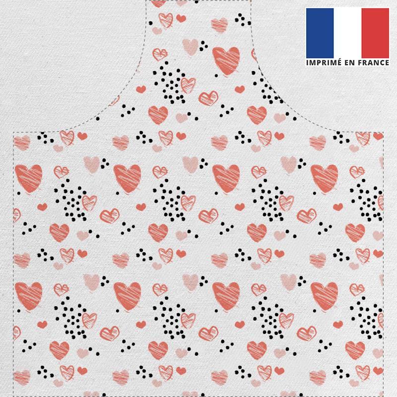 Kit canvas pour tablier motif petits coeurs rouges