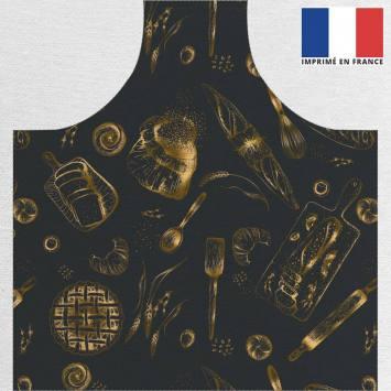 Kit canvas pour tablier noir motif boulangerie doré