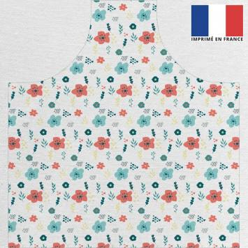 Kit canvas pour tablier motif flat flowers bleu et rouge
