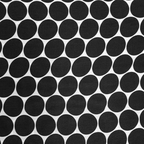 Viscose blanche ultra douce imprimé rond noir