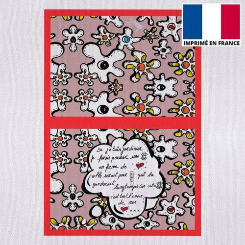 Kit pochette motif fleur poème vieux rose - Création Anne-Sophie Dozoul