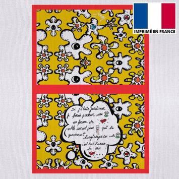 Kit pochette canvas motif fleur poème jaune - Création Anne-Sophie Dozoul