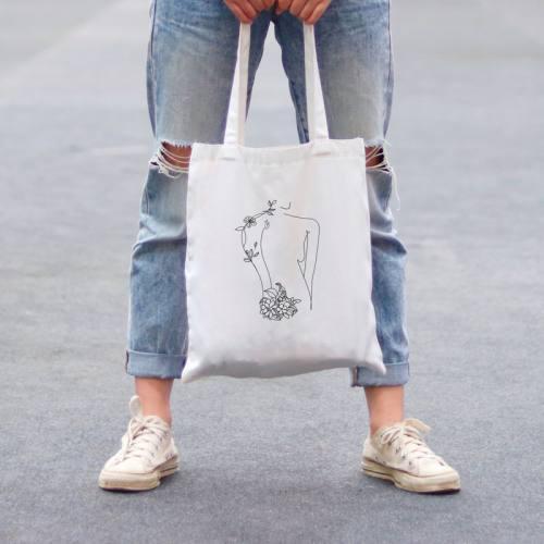 Coupon 45x45 cm toile canvas silhouette dessin trait continu