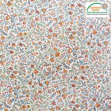 Coton écru motif beaucaire indienne vert