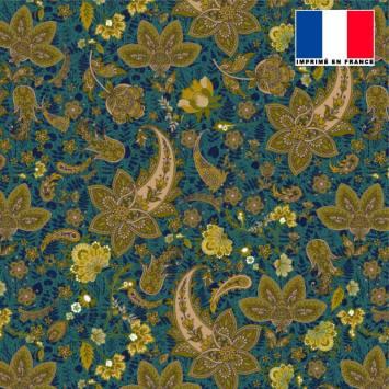 Tissu microfibre bleu paon motif rosace cachemire vert