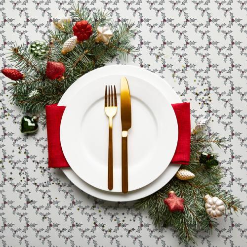 Tissu burlington écru imprimé houx de Noël