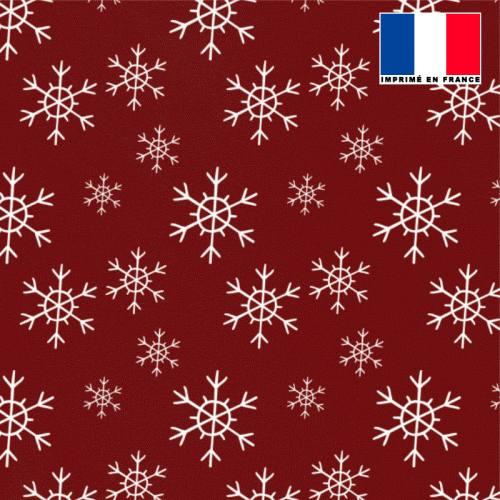Tissu burlington rouge imprimé flocon de neige