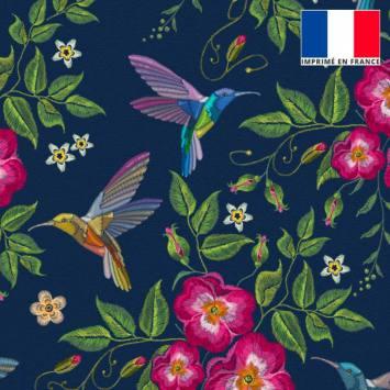 Velours ras bleu marine imprimé colibri et fleur brodé