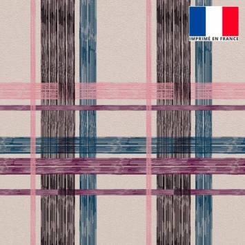 Velours ras rosé imprimé tartan bleu noir rose