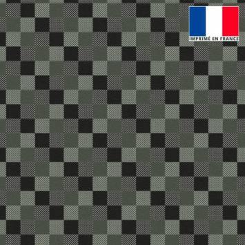 Velours d'habillement imprimé carreaux gris de gris et noirs