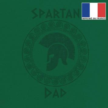 Coupon 45x45 cm toile canvas vert motif spartan dad